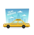 cartoon yellow taxi service isolated objects on vector image