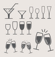 christmas - new year glasses icon set vector image