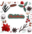 christmas set of isolated elements and lettering vector image