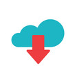 cloud download icon flat cartoon blue vector image