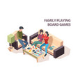family playing board game cards monopoly chess vector image vector image