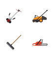 flat icon farm set of grass-cutter lawn mower vector image vector image