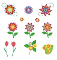 Flowers set in a flat style isolated on white vector image
