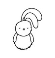 fluffy rabbit adorable toy icon thick line vector image vector image