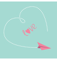 Flying paper plane Big dash heart in the sky Love vector image vector image