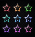 glowing led light stars with glass texture plates vector image