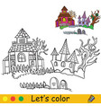 halloween coloring with colored example haunted vector image