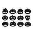 halloween symbol pumpkin icon set silhouette vector image
