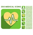 Heart Diagram Icon and Medical Longshadow Icon Set vector image vector image