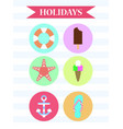 icon set holidays ice cream anchor vector image
