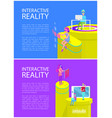 interactive reality text set vector image vector image