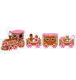 isolated gingerbread train for valentines day vector image vector image