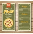 Italian Pizza Restaurant Menu vector image