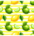 lemon and lime fruit seamless pattern citrus vector image vector image