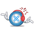 listening music gxshares coin mascot cartoon vector image vector image