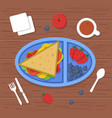 lunch box on table place to eat food container vector image vector image