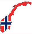Map of Norway with national flag vector image