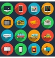 Media and information channels icons with long vector image