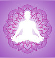 meditation person on flower mandala frame yoga vector image