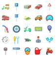 motor car icons set cartoon style vector image vector image