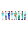 nurse and doctor cartoon medical workers with vector image vector image