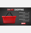 online shopping banner realistic red shopping vector image vector image
