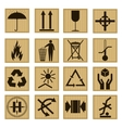 Pack Icon Set on The Cardboard Box vector image vector image