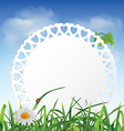 Paper card in the grass against the sky vector image