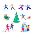 people having fun outdoors at winter vector image vector image