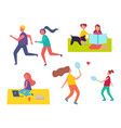 people jogging playing games vector image vector image