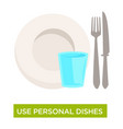 personal dishes use tuberculosis disease spread vector image vector image