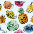 seamless pattern with tropical flowersand fruits vector image