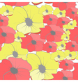 Seamless wallpaper with cartoon style flowers vector image vector image
