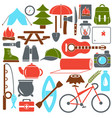 set camping equipment symbols vector image vector image