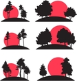 set landscapes with trees and risisng sun vector image vector image