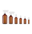 set of amber cosmetic bottles vector image vector image