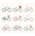 Set of retro bicycles on white background vector image vector image