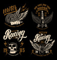 set racer emblem templates with motorcycle vector image vector image