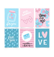 set valentine s day artistic hand drawn vector image
