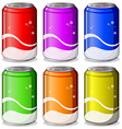 Six colorful soda cans vector image vector image