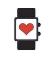 smartwatch with cardio symbol blue lines vector image vector image