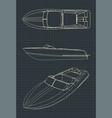 speedboat drawings vector image vector image