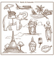 thailand travel symbols or sketch landmarks vector image