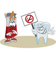 tooth protests against smoking with a poster vector image