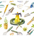 watercolor garden instruments seamless pattern on vector image
