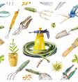 watercolor garden instruments seamless pattern vector image