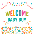 Welcome baby boy Baby boy shower card Baby shower vector image vector image