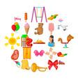 welfare icons set cartoon style vector image vector image