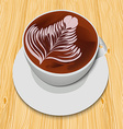White cup of cappuccino on the wooden table vector image vector image