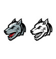 wolf head mascot emblem aggressive wild animal vector image